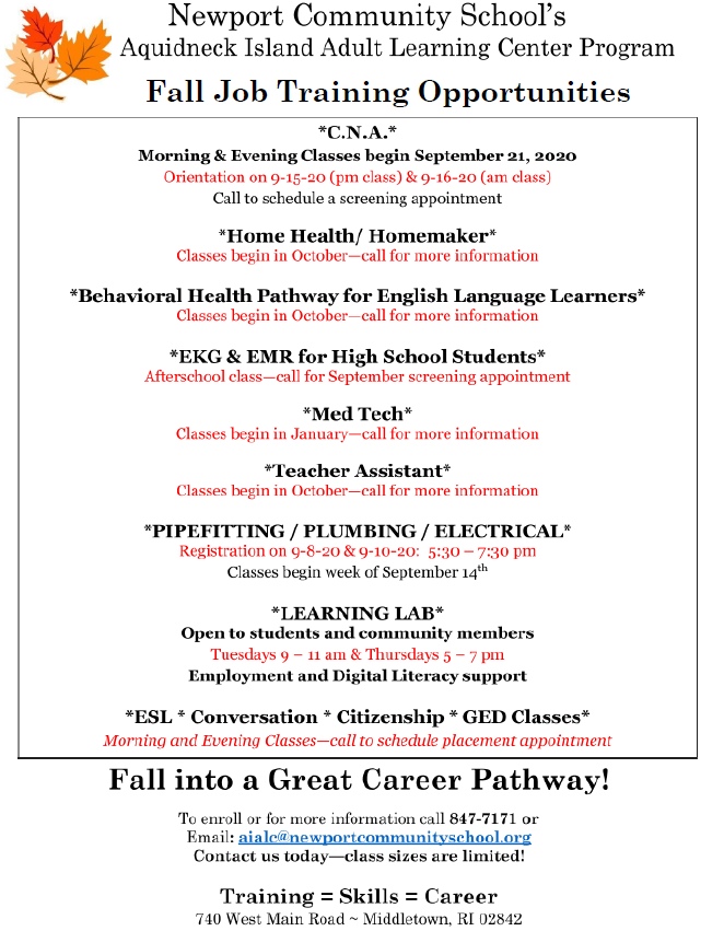 Fall 2020 Job Training Opportunities